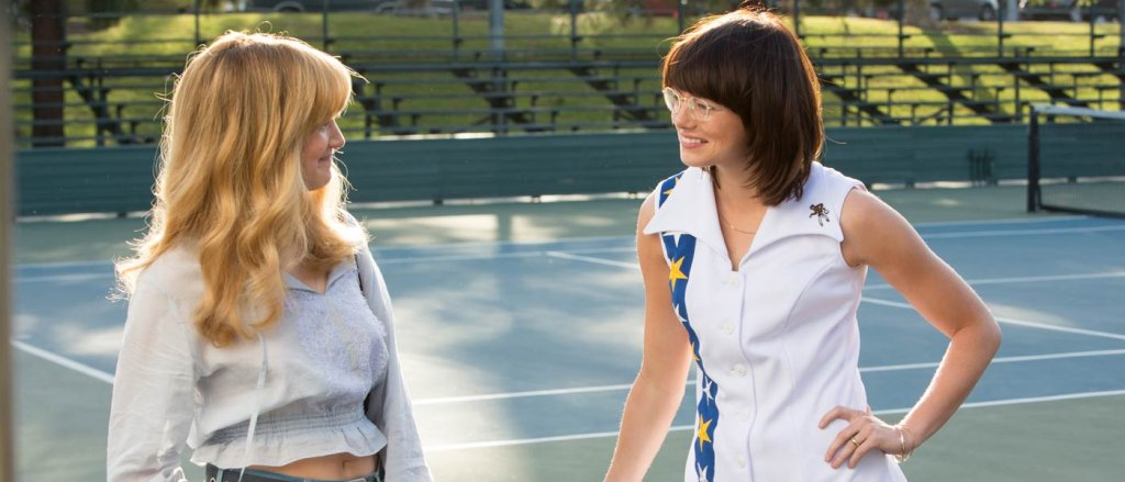 Angela Riseborough and Emma Stone in Battle of the Sexes